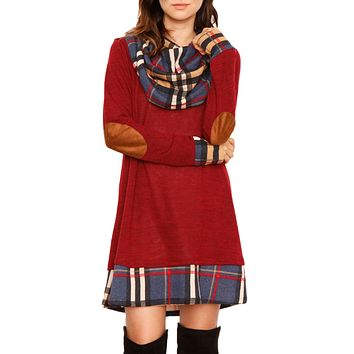 Winter Red Plaid Elbow Patch Cowl Neck Dress
