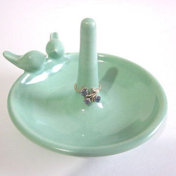 "Mint green ring holder with lovebirds on the rim - Kitchen Ring holder -Jewelry Dish - handmade pottery ""Made to Order"""