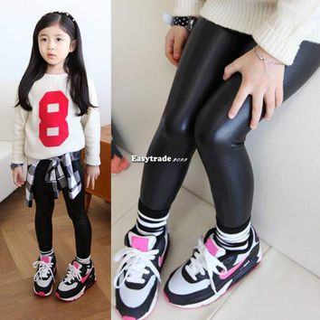 Baby Girls Pants Black Stretchy Faux Leather Skinny Pants Leggings Trousers
