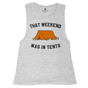 Weekend In Tents Muscle Tank - Heather Grey