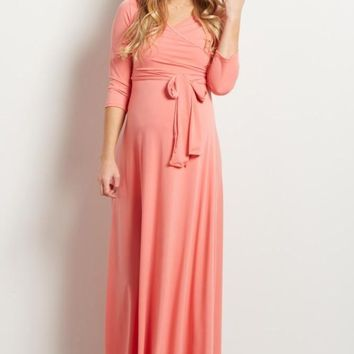 The Jonna Wrap Maxi Dress - Peach