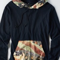 AEO Men's Stars & Stripes Hoodie T-shirt (Fleet Navy)