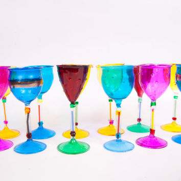 Vintage Venezia Colorful Hand Painted Stemmed Liquor Cordial Glasses Venetian Murano Art Glass Cordials Set of 12 Velvet Boxes