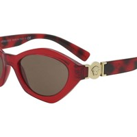 Versace Women's VE4334 VE/4334 313/73 Transparent Bordeaux Oval Sunglasses 54mm