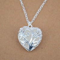 Magical Aqua Blue Love Heart Tree of Life Glow in the Dark Pendant Necklace Chic A1010b
