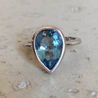 London Blue Topaz Ring- December Birthstone Ring- Promise Ring for Her- Dark Blue Topaz Ring- Gemstone Ring- Sterling Silver Ring- Blue Ring