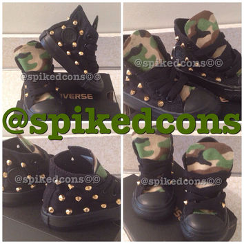 Camo tongue studded converse (ALL youth sizes)