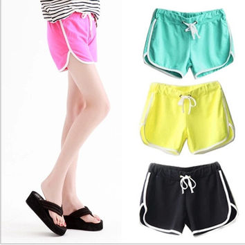 2014 Elastic Pattern A Short Pants Women Sports Shorts Elastic Waist Running Yoga Gym Fitness Trousers Women Shorts Female = 1932506436