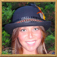 Vintage Woman's Black Wool Bowler Hat with a Black Satin Hatband, Red Beads, Black Button and Bright Feathers