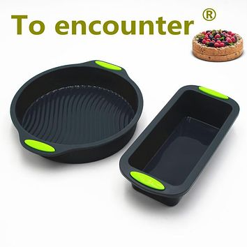 To encounter Square Quadrate Shape Round Shape Silicone Baking Cake Mold DIY Toast Bread Pans Cake Dishes Tray 2 in Package
