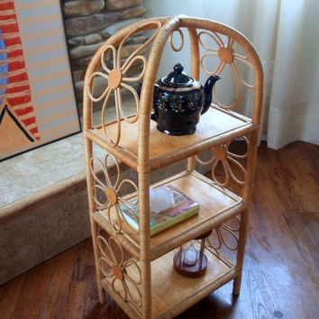 VINTAGE DAISY SHELVES Bamboo Rattan Wood 3 Tier Shelf Eco-Friendly Natural Materials Floral Decorative Home Accessory Accent Furniture