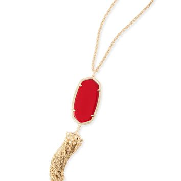 Kendra Scott Rayne Bright Red Gold Necklace with Tassel