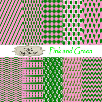 "Pink and green digital paper ""12 x 12"" for scrapbooking, cards, scrapbook supplies, instant download, chevron digital paper"