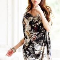 Newly Black Graffitti Prints Short Sleeve Dresses : Wholesaleclothing4u.com