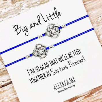 Set of Two Silver or Gold Charm Big Little Sorority Bracelets | Reveal Gift | Big Sister Little Sister | Matching Bracelets | Sister Gift