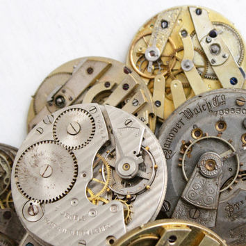 Vintage & Antique Pocket Watch Movement Lot - 10 Clock Pieces for Parts, Jewelry Making Steampunk Supplies Destash - Elgin, Newera