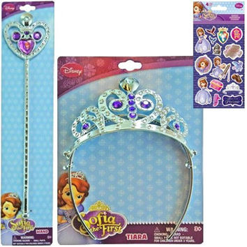 Disney Jr. Princess Sofia the First Holiday Gift Set For Kids - 1 Princess Sofia Tiara and Wand Set Plus 1 Pack of Sofia the First Stickers - Best Stocking Stuffers For Girls
