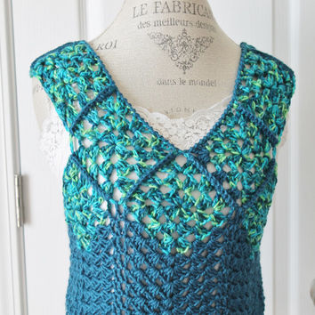 Summer Crop Top - Crochet Granny Square Cover -Misses/Women Small - Teal Summer Cover