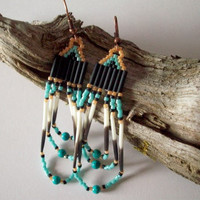 Turquoise Porcupine Quill Earrings