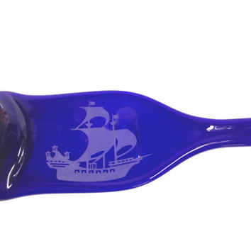 Really Tall and Fantastic Cobalt Blue Melted Bottle Cheese Tray with Ship Design - Ship in a Bottle