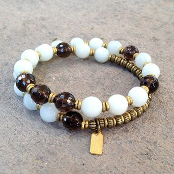 Communication and Positivity, Amazonite and Smoky Quartz 27 Bead Wrap Mala Bracelet