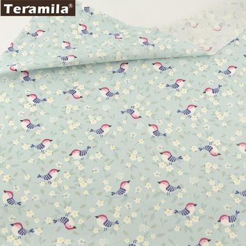 Cotton Fabric Light Green Print Birds Designs Twill Fat Quarter Home Textile Material TERAMILA Bed Sheet Patchwork Quilting