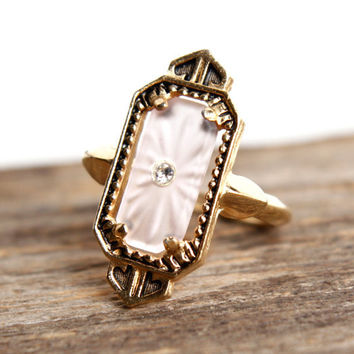 Vintage Art Deco Style Ring - Adjustable Gold Tone Avon Costume Jewelry / Frosted Camphor Glass