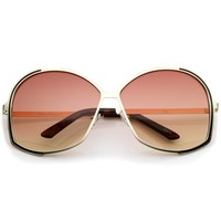Women's Metal Frame Gradient Colored Lens Oversize Round Sunglasses 67mm