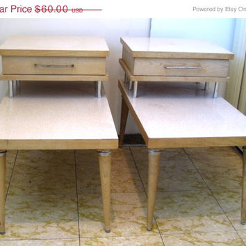 Mid Century, Maple, Light, Wood, Step, Drawer, End, Side, Table, Retro, Living, Family, Room, Chic, Two Tier, Set, Pair, Formica, Furniture
