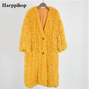 Natural fur knitted Mongolian sheep fur coat jacket overcoat women's winter warm fur coat with pocket 95cm extra longer size