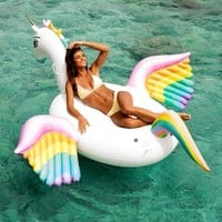 Giant Pegasus Inflatable Pool Float Rainbow Unicorn Ride-on Water Toy For Women Men Family Beach Lounger Air Mattress boia