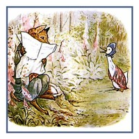 Fox Hides Behind Newspaper from Jemima Puddleduck inspired by Beatrix Potter Counted Cross Stitch or Counted Needlepoint Pattern