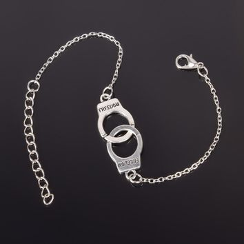 Silver Color handcuffs Punk Bracelets For Women Silver Bracelets Chain Bangles Fashion Jewelry Summer Style Gift  ns210