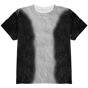 Halloween Tuxedo Black And White Cat Costume All Over Youth T Shirt