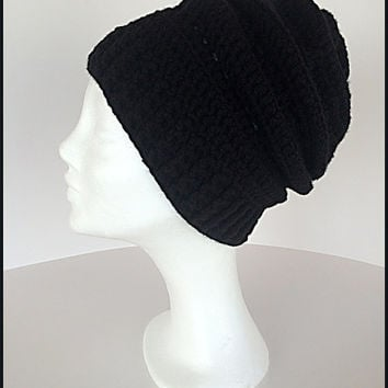 Slouchy hat, Black winter hat, Winter slouch beanie, Black ski hat, Black winter beanie, Chunky hat, Black slouchy hat, Black cap,Slouch cap