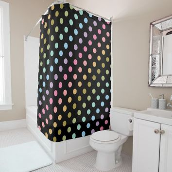 Pastel Rainbow Polka Dots Black Background Shower Curtain