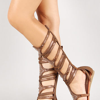 859b98c799a Liliana Jeweled Glitter Zip Up Strappy Gladiator Flat Sandal