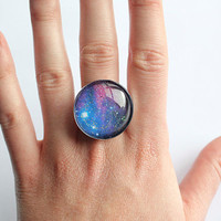 Blue and Pink Sparkly Galaxy Ring Fully adjustable
