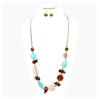 Boho Brown Turquoise Celluloid & Wood Bead Necklace