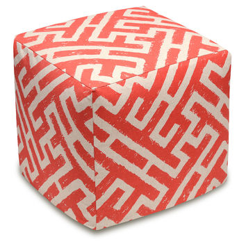 Lattice Linen Ottoman, Coral, Ottomans