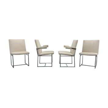 Pre-owned Milo Baughman Chrome Dining Chairs - Set of 4