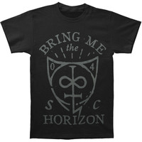 Bring Me The Horizon Men's  Hand Drawn Shield T-shirt Black Rockabilia