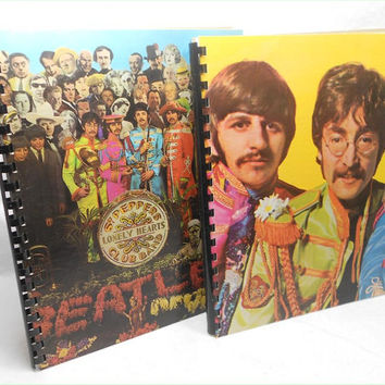 The BEATLES - Sgt. Peppers - 2 (two) Recycled Record Album Jacket Sketch Book Journals