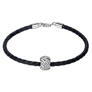 """Leather Woven Bracelet 925 Sterling Silver 3A Zirconia """"Shining Galaxy"""" Charm Bead 7.5 Inches Black Women and Men Couple Bracelet,Valentine's Day Gifts"""