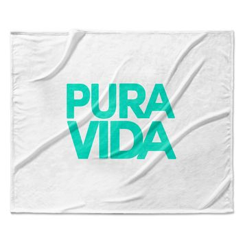 "Geordanna Cordero-Fields ""Turquoise Pura Vida"" Blue White Fleece Throw Blanket"