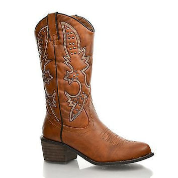 DmgRancher (SALE) Tan Western Embroidered Studded Cowboy Mid Calf Riding Boot