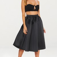 Black Satin Full Midi Skirt