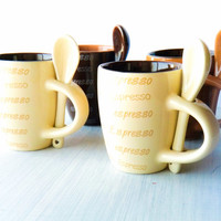 Unique Vintage Ceramic cup and spoon Espresso Cups Set/ tiny coffee mugs/ chocolate, cream, coffee colors/ Hostess Gift