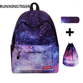 RUNNINGTIGER 3pcs Sets Girls School Bags Women Printing Backpack School Bags For Teenage Girls Shoulder Drawstring Bags