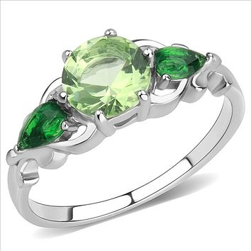 A Celtic 1CT Apple Green Round Cut & Pear Cut Emerald Green Russian Lab Diamond Engagement Anniversary Ring
